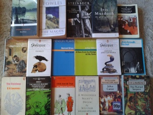 books, shakespeare, Ibsen, Lawrence, Fowles,Steinbeck