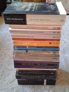 book haul shakespeare, lawrence, Fowles, Steinbeck,