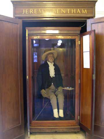 Jeremy Bentham in his box.