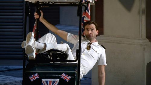 David tennant in a golf cart