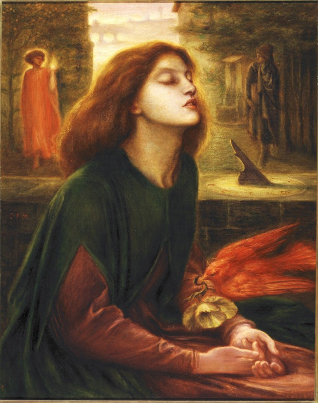 Rossetti's painting of Beatrice, depicting the moment of her death. I can think of better times to be painted.