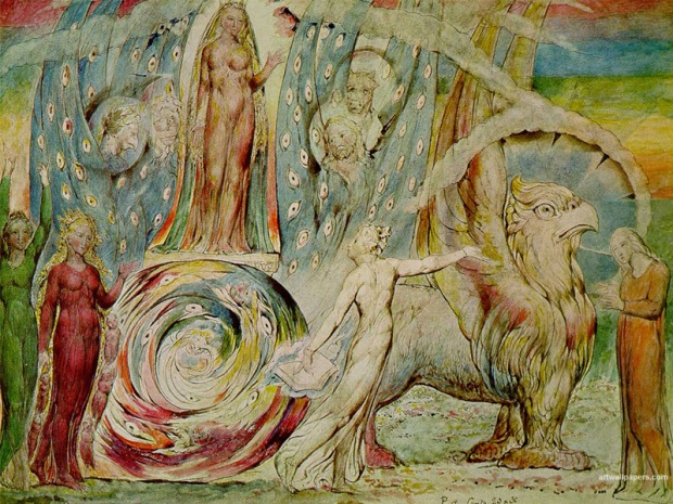 Willam Blake's illustration of Bea's chariot. Probably best not to try and run it through a car wash