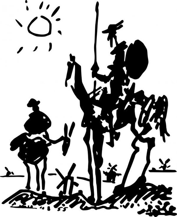 Pablo Picasso sketch of Don Quixote