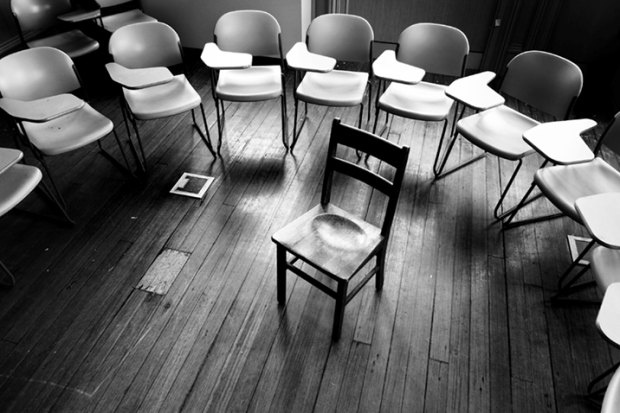 writing group empty chairs