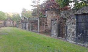A grassy avenue of posh graves
