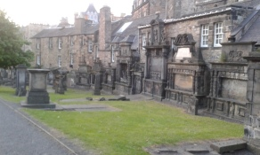 This kirkyard is very small, but holds about 300,00 people, making the ground higher than the surroundings. Nice.